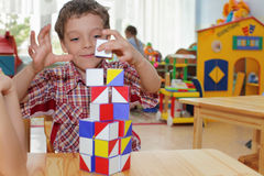 Boy In Kindergarten Stock Images
