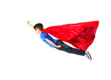 Free Boy In Red Superhero Cape And Mask Flying On Air Royalty Free Stock Image - 61911876