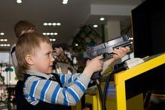 Boy In The Children S Amusement Arcade Stock Image