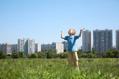 Boy In The City Stock Images