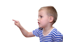 Boy with indexfinger Royalty Free Stock Image