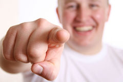 Boy with indexfinger to you Royalty Free Stock Photo