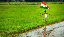 Boy with indian national flag Royalty Free Stock Photo