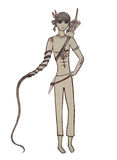 Boy Indian with a whip. Children's artwork Stock Image