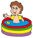 Boy in inflatable pool vector illustration