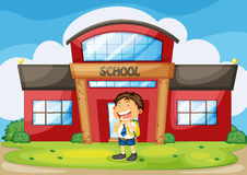 Boy infront of school. Illustration of a boy infront of school Stock Photo