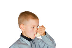 The boy with an inhaler Royalty Free Stock Photos