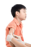 Boy inject by doctor royalty free stock images