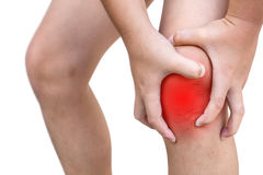 The boy injured at knee. On white background Royalty Free Stock Photography