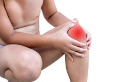 The boy injured at knee. On white background Royalty Free Stock Photos