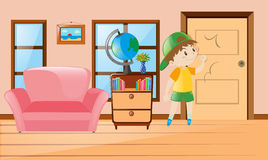 Boy inside the room knocking on door. Illustration Royalty Free Stock Photos