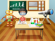 A boy inside a science laboratory Royalty Free Stock Photography