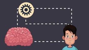 Boy intelligent brain HD animation. Cute boy training brain with knowledge High Definition animation colorful scene stock video