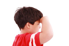 Boy intently looking far away Royalty Free Stock Images