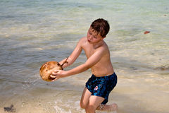 Boy Is Playing With A Coconut At A Beautiful Beach Stock Images