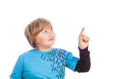 Boy isolated pointing Royalty Free Stock Photos