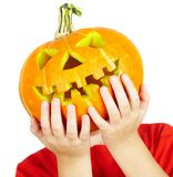 Boy with jack-o-lantern. halloween. Stock Photos
