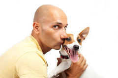 Boy and jack russel dog on the white Royalty Free Stock Photo