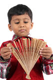 Boy with Japanese Fan Royalty Free Stock Images
