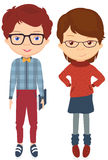 Boy in jeans, plaid shirt, sneakers and bow tie. Girl in a sweat Royalty Free Stock Photo