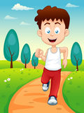 Boy jogging. Illustration of a boy jogging in the park Royalty Free Stock Photos
