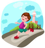 Boy jogging in the city vector illustration