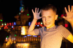 Boy jokingly showing fear Royalty Free Stock Photos