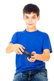 Boy with a joystick playing Stock Photos