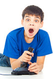 Boy with a joystick Royalty Free Stock Photo