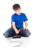 Boy with a joystick Royalty Free Stock Photography