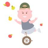 Boy juggling apples Royalty Free Stock Photo