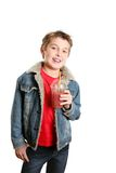 Boy with juice Stock Images