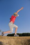 Boy jumping. In the air Stock Photography