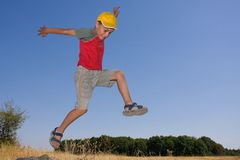 Boy jumping. In the air Royalty Free Stock Image