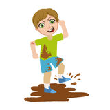 Boy Jumping In Dirt, Part Of Bad Kids Behavior And Bullies Series Of Vector Illustrations With Characters Being Rude And. Offensive. Schoolboy With Aggressive vector illustration