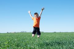 Boy jumping high, green grass and blue sky on the background,success, fortune, achievement  and  winning. Concept Royalty Free Stock Photos