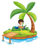 A boy jumping at the island Royalty Free Stock Images