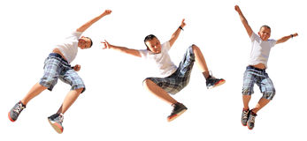 Boy jumping, isolated Stock Photos