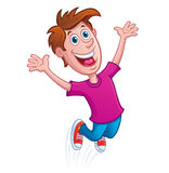 Boy Jumping for Joy. Cartoon illustration of a happy and smiling boy jumping for joy with his arms up Royalty Free Stock Photography