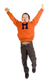 Boy jumping. Little boy jumping isolated in white Stock Photo