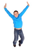 Boy jumping. Little boy jumping isolated in white Royalty Free Stock Photo