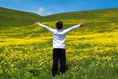 Boy jumping in meadow royalty free stock photos