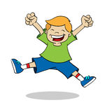Boy jumping while smiling Stock Photos
