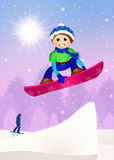 Boy jumping with snowboard Royalty Free Stock Image