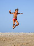 The boy jumps Stock Photo