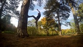 Boy jumps backflip on a tree in the park, slowmotion stock footage