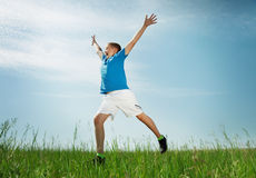 Portrait of the boy on a meadow. Boy jumps on a green grass in the summer royalty free stock photo