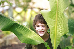 Boy in the Jungle Stock Image