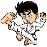 Boy Karate kick Stock Photography