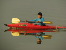 A boy and the kayak Stock Photo